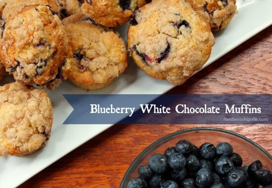 blueberry white chocolate muffins on a table