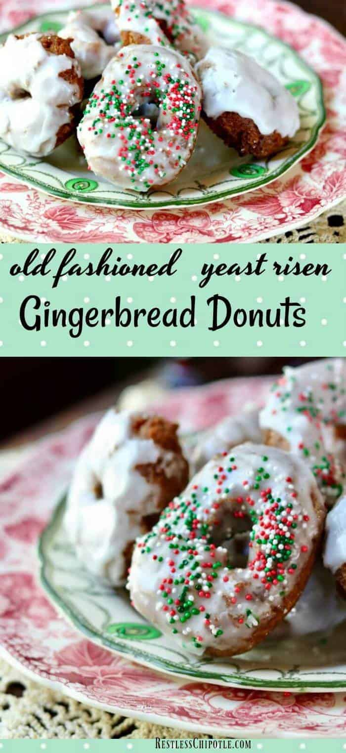 Easy, homemade gingerbread donuts recipe is full of holiday flavor! Lemon glaze balances the sweet with a little tang in this vintage recipe. Fry or bake them -whichever you prefer! From RestlessChipotle.com #gingerbread #homemade #donuts #recipe #airfryer #cakedonuts