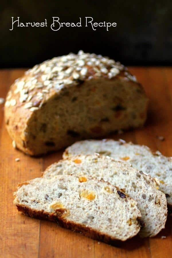 Harvest Bread recipe is full of whole grains, dried fruit, and nuts. From RestlessChipotle.com