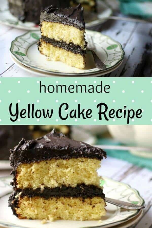 Here\'s a classic yellow cake recipe with a creamy, bittersweet chocolate icing --Homemade, from scratch, butter cake is moist and tender with old fashioned flavor. A dark chocolate fudge frosting is the perfect compliment to this easy layer cake recipe. #cakerecipes #yellowcake