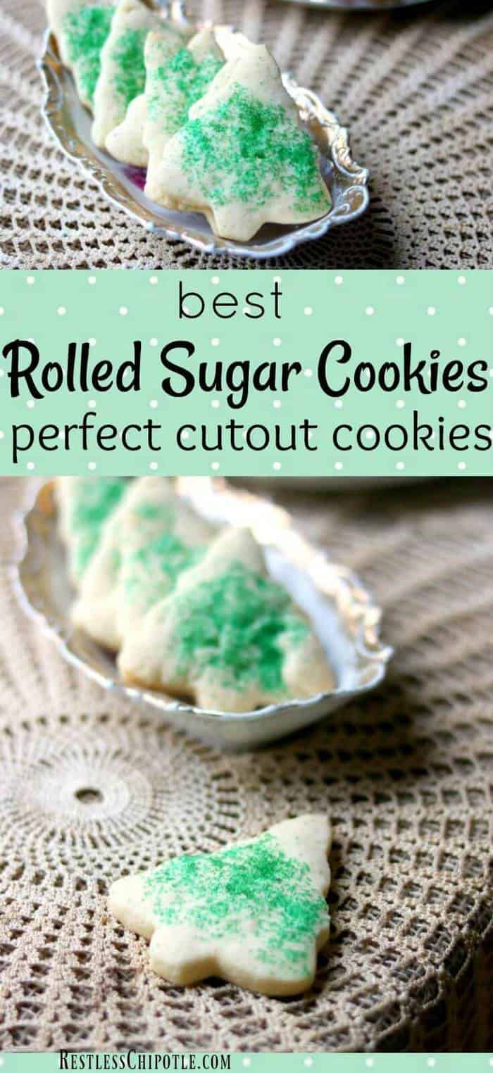 The best rolled sugar cookies recipe ever! So easy! Make sugar cookies that keep their shape plus tips and tricks to make them even better. From RestlessChipotle.com #sugarcookiesrecipe #rolledsugarcookies #bestsugarcookies