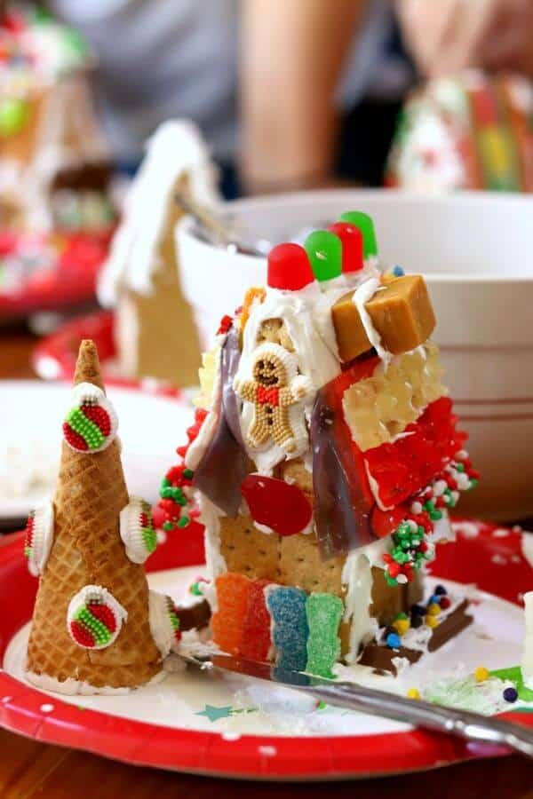 A decorated gingerbread house from this years gingerbread house party.