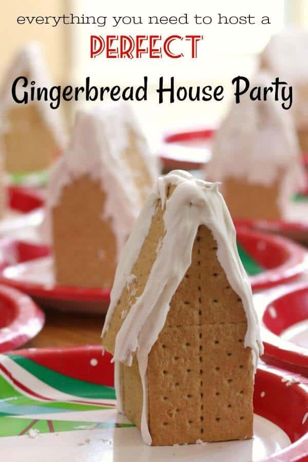 plain gingerbread houses ready to be decorated for the gingerbread house party - title image