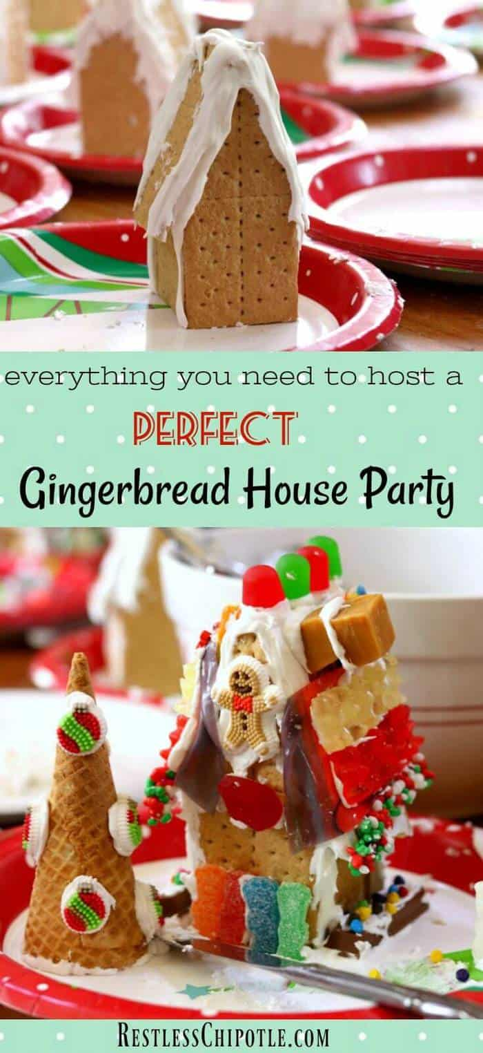 Everything you need for how to host a gingerbread house party for the holidays! Great children's Christmas party ideas and tips that adults will love, too! From RestlessChipotle.com #childrenschristmaspartyideas #gingerbreadhouse #holidaypartyideas