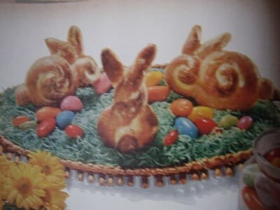 Vintage image of Easter bunny shaped sweet rolls