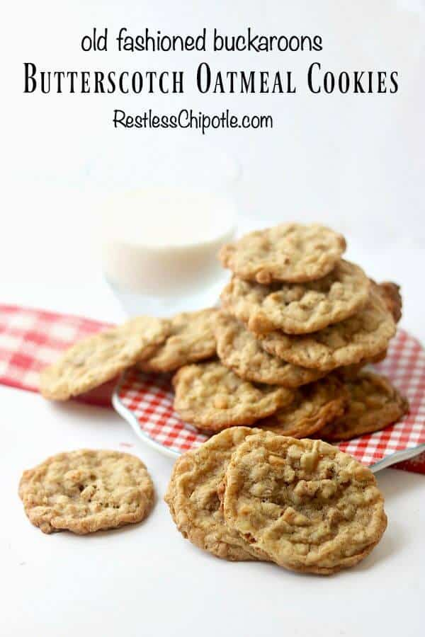A stack of homemade cookies on a red gingham plate with title text.