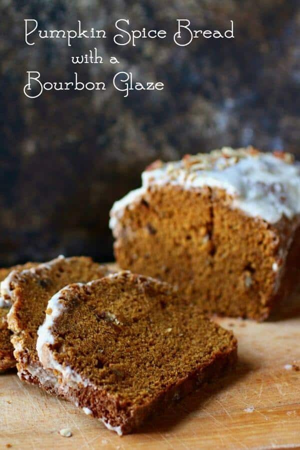Pumpkin spice bread with a bourbon glaze fairly screams fall flavors and winter holidays. As it bakes the kitchen fills with the aromas of cinnamon, cloves, and nutmeg. Best pumpkin quick bread recipe I've ever made! From RestlessChipotle.com