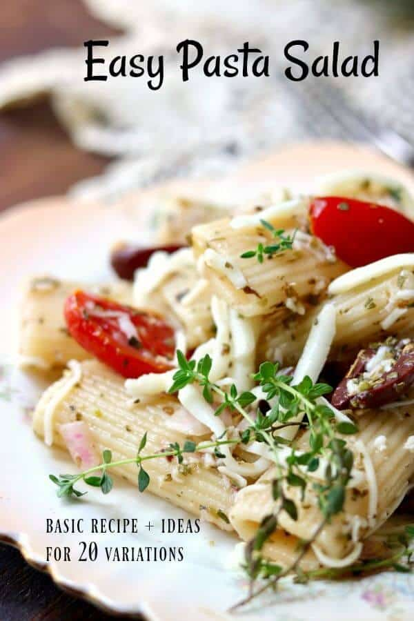 Easy pasta salad with Italian dressing is perfect summer side dish. Or add one of the 20 suggested variations! From RestlessChipotle.com