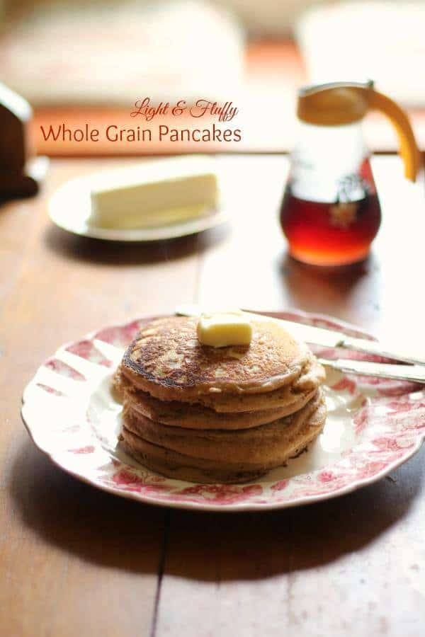 This whole wheat pancake recipe is our favorite!! Light, fluffy whole grain pancakes that my kids love! From RestlessChipotle.com