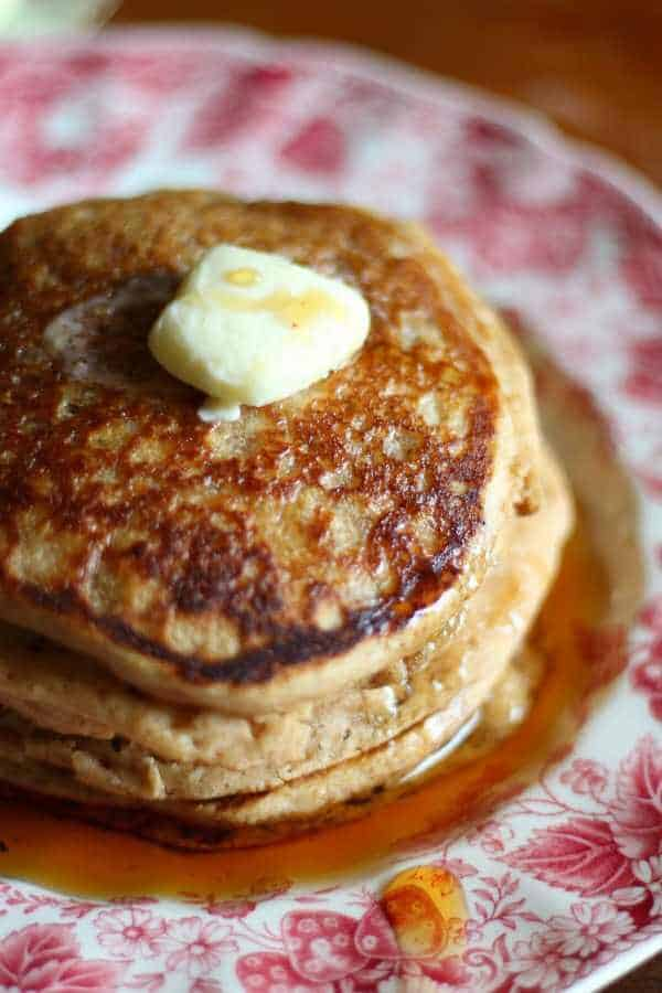 Whole wheat pancakes recipe is light and fluffy and easy to make. My kids love this! From RestlessChipotle.com