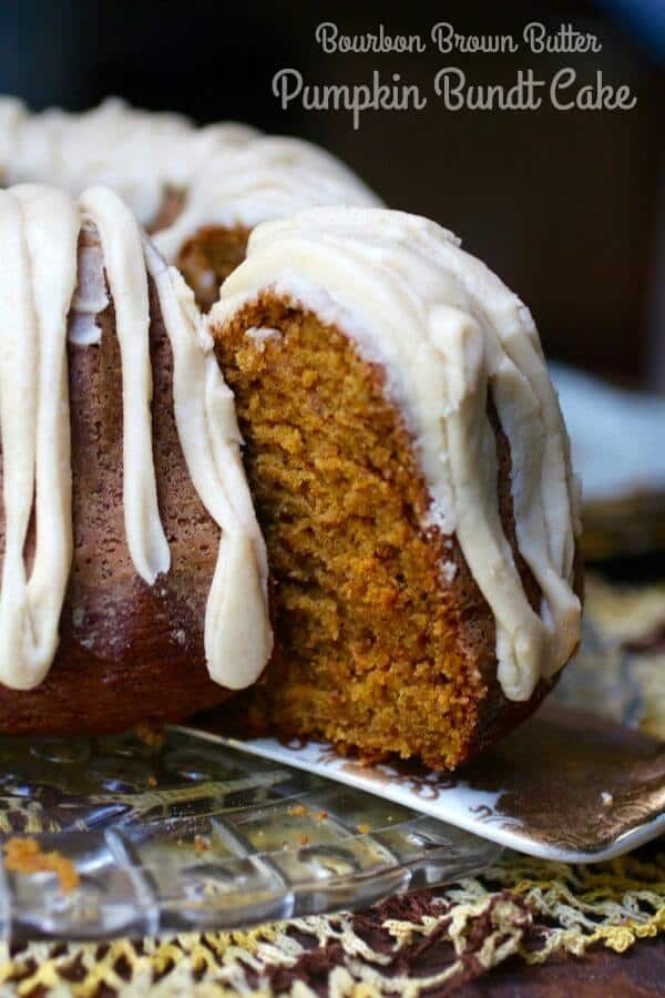This bourbon, brown butter pumpkin bundt cake recipe is so moist and delicious! Perfect for fall! From RestlessChipotle.com