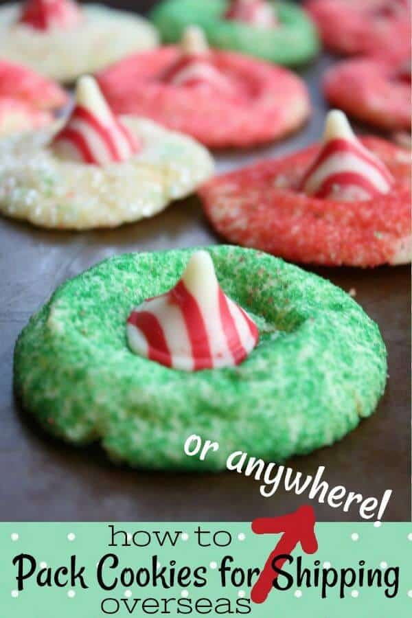 Shipping cookies title image of red and green sprinkled cookies with a white chocolate kiss in the center