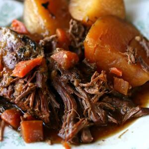 Close up of the pot roast with carrots, potatoes, and more on a vintage white and green plate.