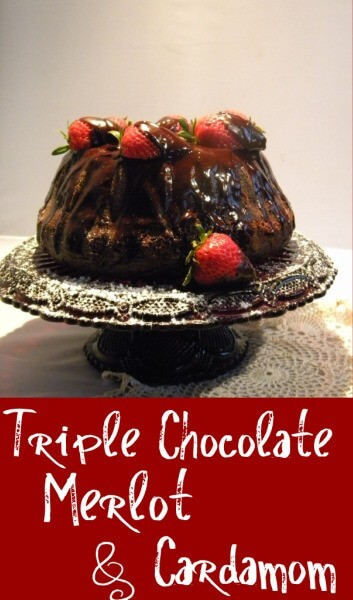 triple chocolate bundt cake on cake plate- title image