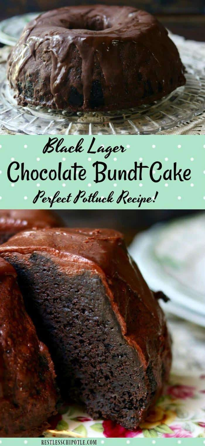 Black lager chocolate cake is one of the most memorable bundt cake recipes you'll ever make! Topped with thick, rich chocolate ganache for #choctoberfest 2017! #chocolatecakerecipes #bundtcake