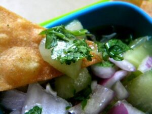 Honey dew salsa on a tortilla chip.