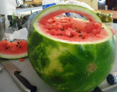 watermelon and fruit basket