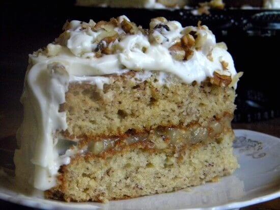 ssliced banana cake with walnut filling