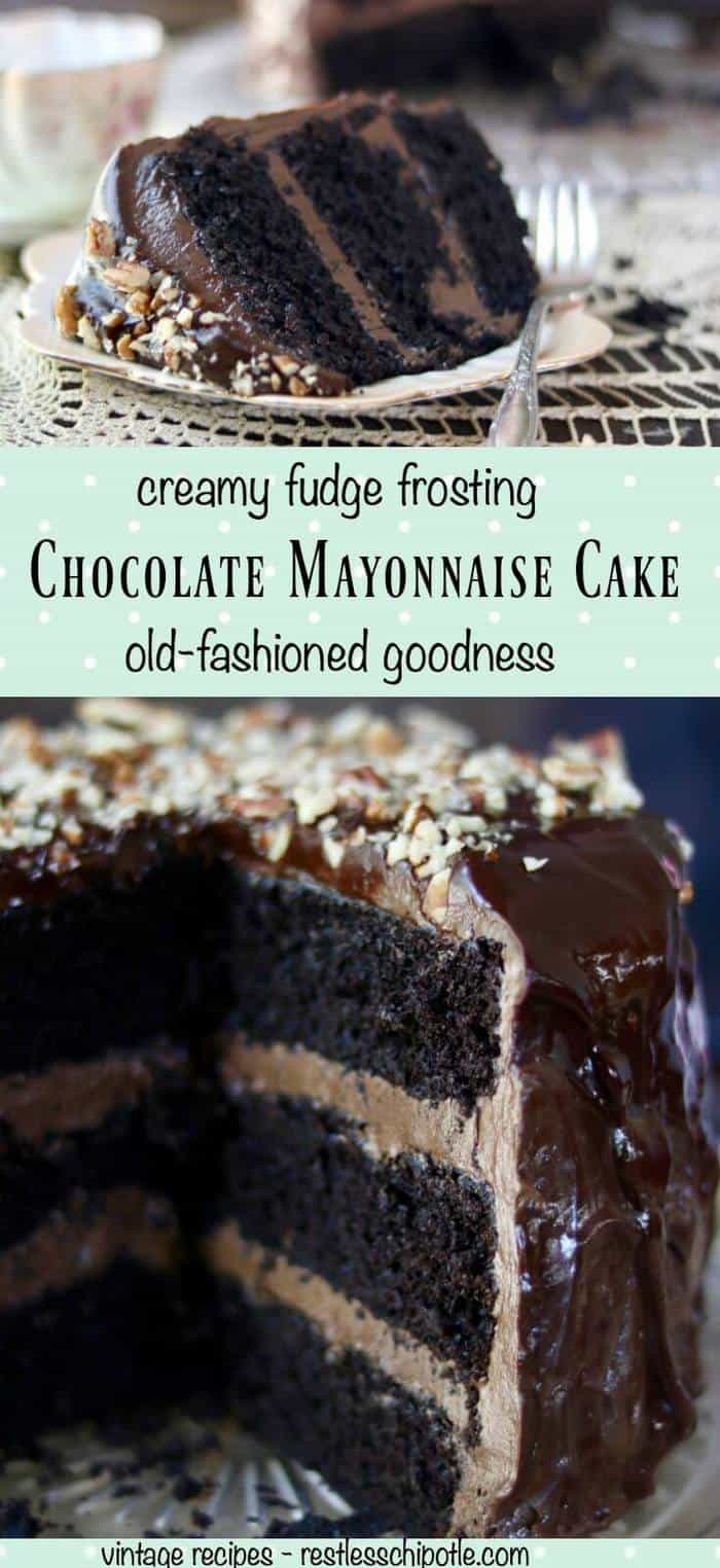Homemade Chocolate Mayonnaise Cake recipe. This is absolutely the best chocolate cake recipe ever! Ultra creamy frosting and filling and a fudgy moist cake- If you love chocolate cake you have to try this! From RestlessChipotle.com