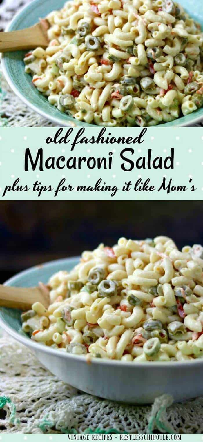 There's nothing quite like a creamy, old fashioned macaroni salad recipe to bring back memories of summer. This is like the Hellmann's classic recipe. From RestlessChipotle.com