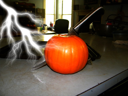 cutting the pumpkin open