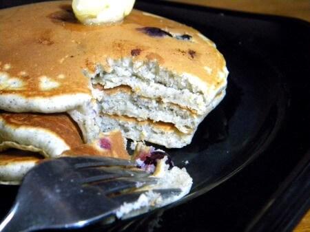 blueberry blue cornmeal pancakes