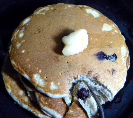 blueberry blue cornmeal pancakes cut
