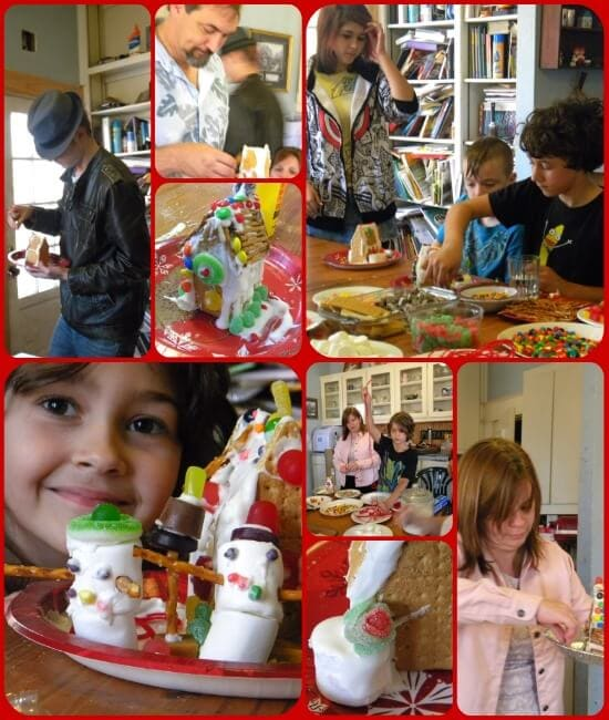 a collage of snapshots from a gingerbread house party
