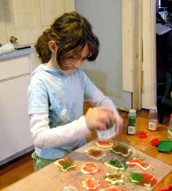 kyrie making cream cheese cookies