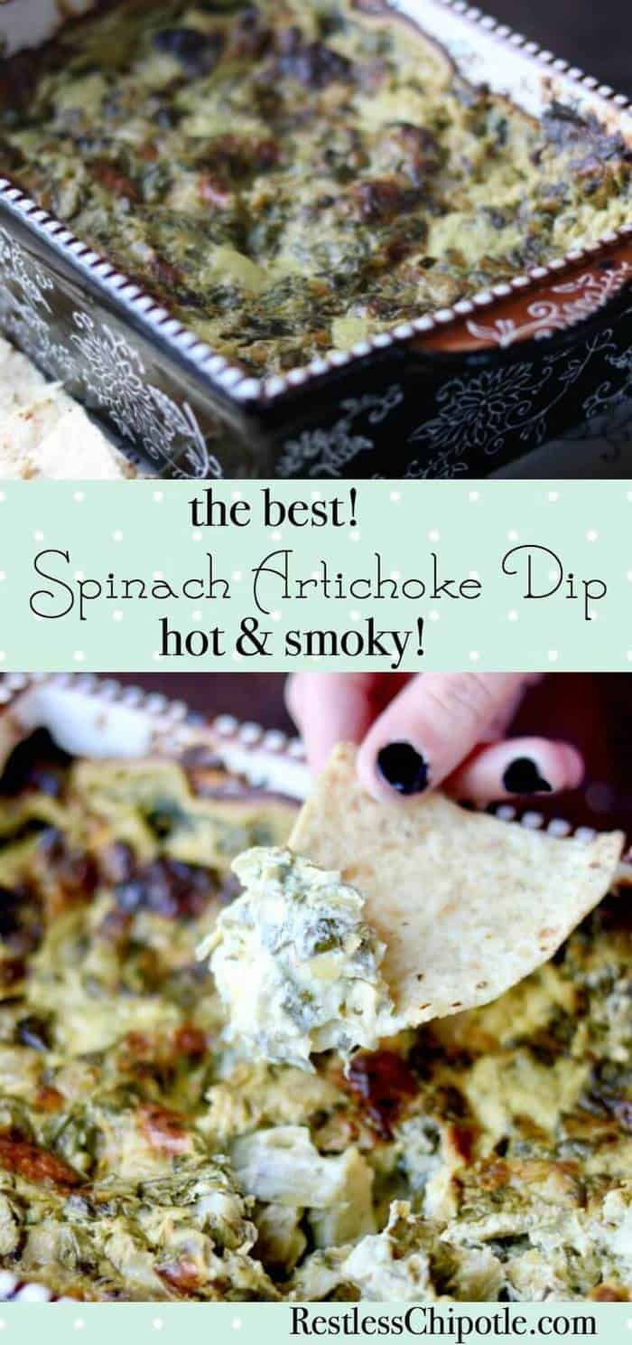 This spinach artichoke dip recipe is the best EVER! Served hot and bubbly, it has a blast of smoky flavor. From RestlessChipotle.com