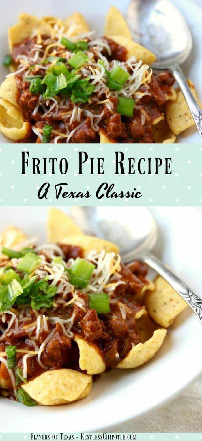 Frito pie is a classic Texas recipe that's found at nearly every high football concession stand as well as in many high end restaurants. It's quick and easy, has many variations, and is addictively good. This is the original Frito Pie recipe, created by the wife of one of the Fritos executives in the 1950s. This old-time family favorite will still bring smiles to the table today! From RestlessCHipotle.com