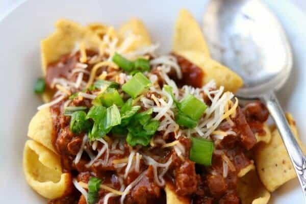 Original Frito Pie recipe is a Texas Classic! SO quick and easy! From RestlessChipotle.com