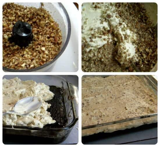 adding the cheesecake layer to the brownie cheesecake bars