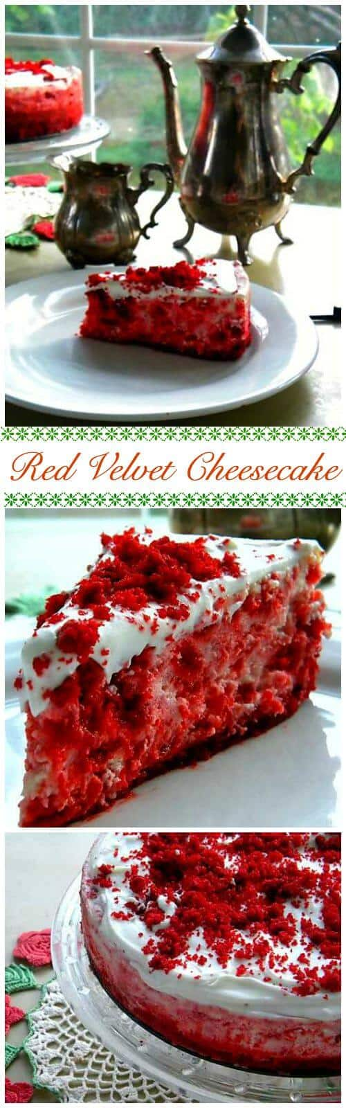 Red Velvet Cheesecake is not just beautiful - it's one of the creamiest, most flavorful cheesecakes you'll ever put in your mouth. Rich vanilla cheesecake surrounds pieces of real red velvet cake. So good! From RestlessChipotle.com