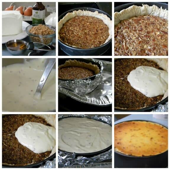 step by step images for the cheesecake layer