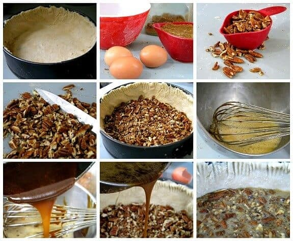 step by step images for the pecan layer of pecan pie cheesecake.
