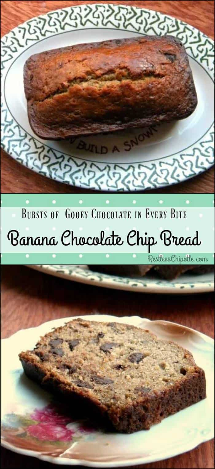 Chocolate chip banana bread recipe is moist banana bread with bursts of gooey dark chocolate throughout. Addictive! From RestlessChipotle.com #recipe #bananas #easy