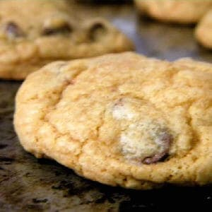 A baked chocolate chip cookies