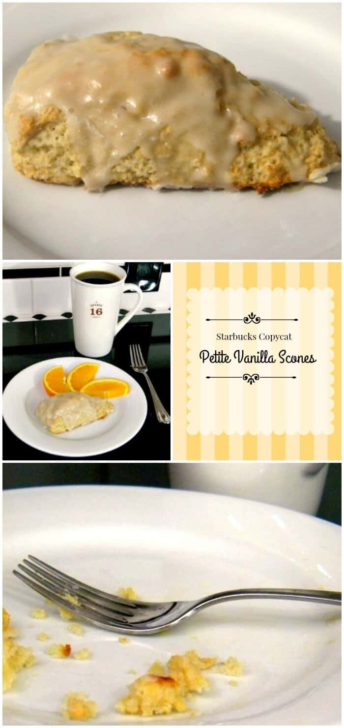Starbucks copycat petite vanilla scones are buttery and sweet. Totally addictive. From RestlessChipotle.com