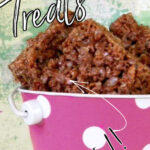 Pink Bucket with krispie treats inside. Text overlay for Pinterest pinning.