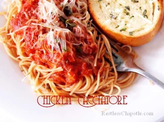 chicken cacciatore over pasta with title text overlay