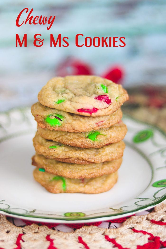 Chewy m&m cookies are full of buttery goodness, peanut butter, and plenty of chocolaty M&Ms. Change the colors of the candied for different seasons and holidays! Optional instructions for omitting peanut butter. #cookies #recipes #M&Ms #drop #easy #chocolatechip