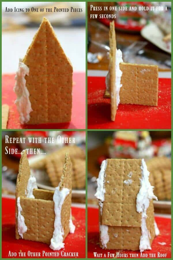 assembling a gingerbread house made from graham crackers - four images show each step.