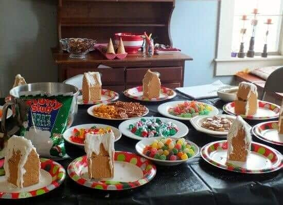 Gingerbread house party supplies on the table