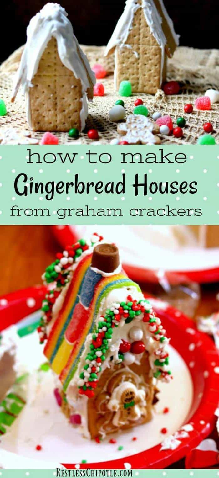 Learn how to make gingerbread houses with graham crackers! You'll find plenty of tips for making a graham cracker gingerbread house that doesn't break apart. RestlessChipotle.com #holidays #Christmas #Gingerbreadhouse