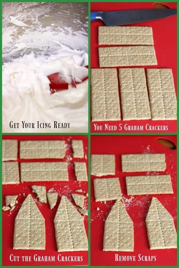learn how to make gingerbread houses from graham crackers - here are the images for cutting the crackers.