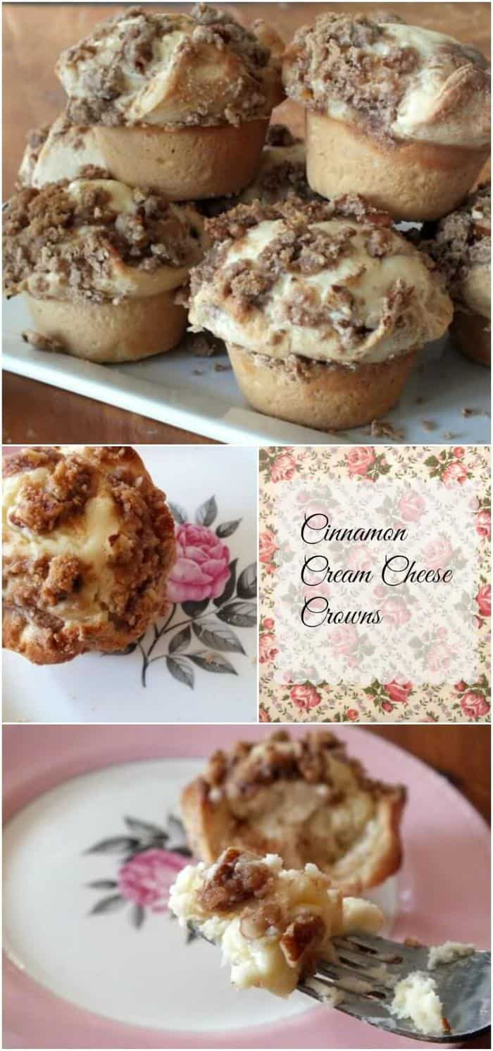 Cinnamon cream cheese crowns are a buttery sweet rolls that rises overnight to make an easy brunch! From RestlessChipotle.com