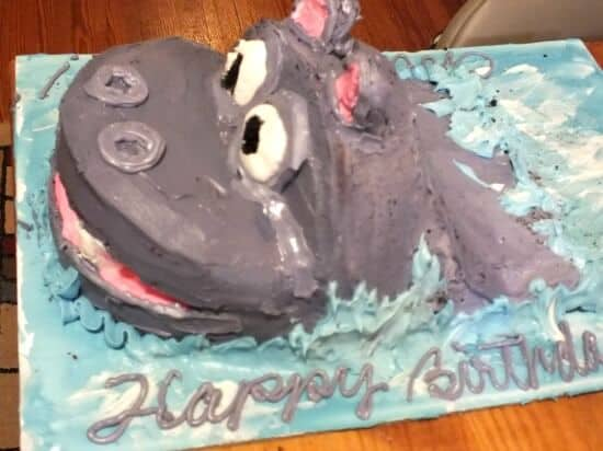 Hippo Eating Birthday Cake