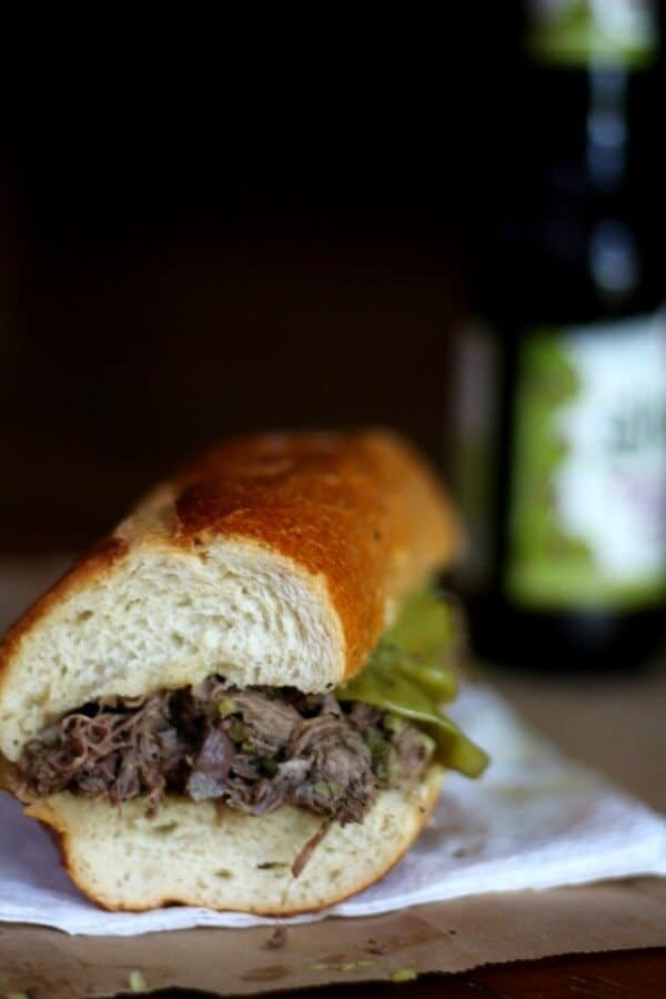 Slow cooker Italian beef sandwiches are filled with tender beef. From RestlessChipotle.com