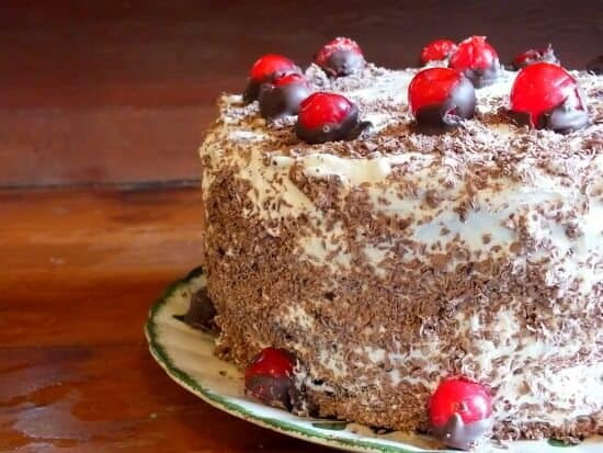 Black Forest Cake with Balsamic and Rum Roasted Cherries